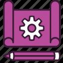 blueprint, design, development, gear, pencil, product, project icon
