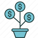 business, finance, growth, income, marketing, money, plant icon