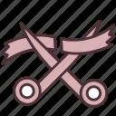 business, cut, launch, open, ribbon, scissors, start icon