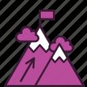achievement, business, dream, goal, mission, mountains, success icon