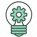 bulb, gear, idea, improve, innovation, problem, solving