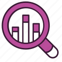 magnifier, graph, study, research, competitive, analysis, chart icon