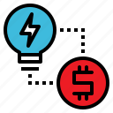 creative, exchange, idea, lightbulb, money icon
