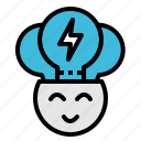 creative, head, idea, lightbulb, smart icon