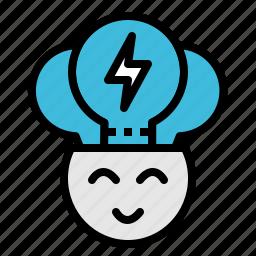 creative, head, idea, lightbulb, smart icon