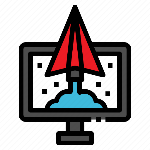 launch, paper, plane, spaceship, startup icon