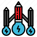 creative, idea, lightbulb, pencil, spaceship icon
