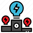 idea, lightbulb, podium, victory, winner icon