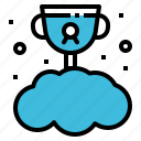 cloud, concept, reward, trophy, winner icon