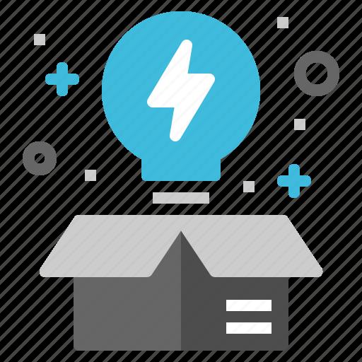 box, creative, idea, lightbulb, startup icon