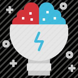 brain, creative, idea, lightbulb, startup icon