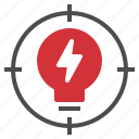 creative, crosshair, idea, lightbulb, target icon