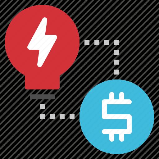 creative, exchange, idea, lightbulb, money icon