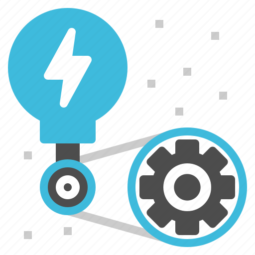 creative, gear, lightbulb, operation, startup icon