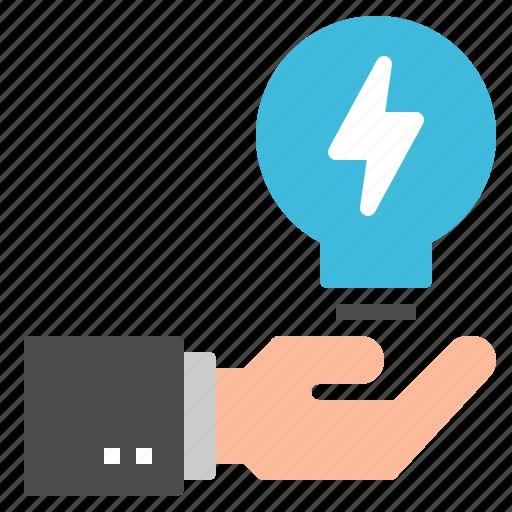 business, creative, hand, idea, lightbulb icon