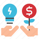 business, creative, hand, lightbulb, money icon