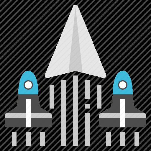 leader, paper, plane, spaceship, startup icon