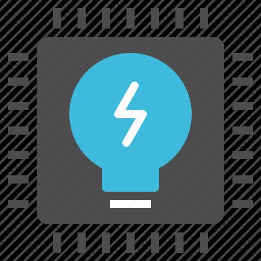 brain, chip, idea, lightbulb, processor icon