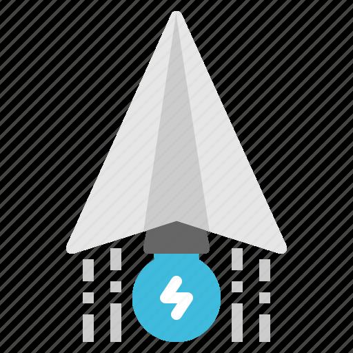 business, idea, paper, plane, startup icon