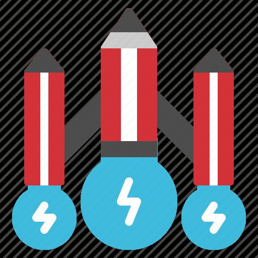 creative, idea, lightbulb, pencil, spaceship icon