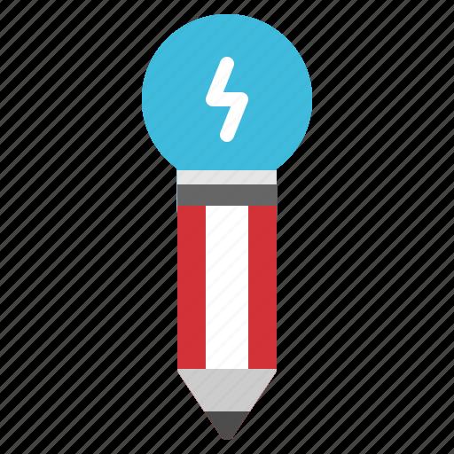 creative, idea, lightbulb, pencil, startup icon