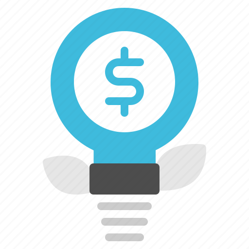 concept, idea, lightbulb, money, plant icon