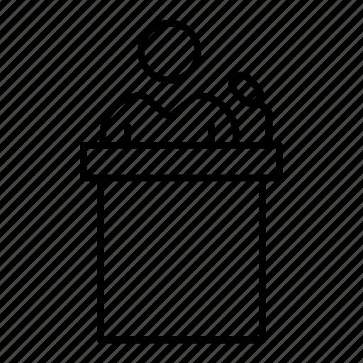 employee, podium, presentation, user icon