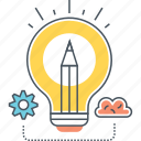 creative, creativity, idea, innovation, innovative, light bulb icon