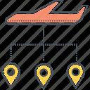 distribution, flight, layover, stopover, transfer, transport icon