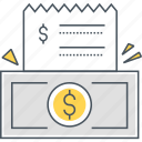 balance, bill, cash, dollar, dollar bill, financial, receipt icon