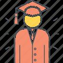 graduate, fresh grad, fresh graduate, mortarboard, student icon