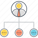 chart, diagram, hierarchy, organisation, organization, subordinates icon