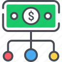 business icon, financial, flow, money, money control strategy icon