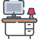 computer, desk, office, table, work desk icon, workplace