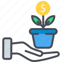 business expand, dollar growing, dollar plant, growing business, investment icon icon
