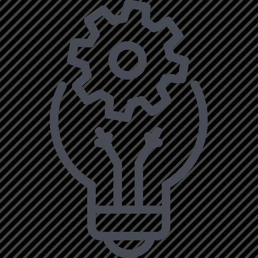 creative cycle, creative idea, development, gear, idea, lamp icon