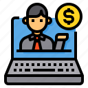 businessman, coin, laptop, manager, money icon