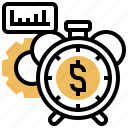 clock, economic, performance, through, time icon