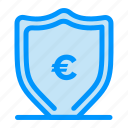 euro, money, protection, shield icon