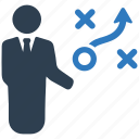 business strategy, businessman, efficiency, marketing strategy, planning, strategy icon