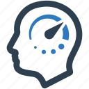 head, speedometer, work performance, work speed icon