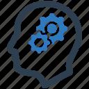 gear, head, preferences, solution, strategic thinking icon