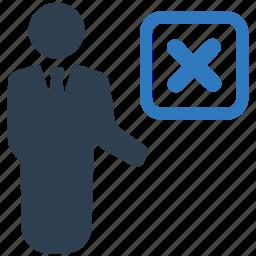 business, cancel, close, cross, delete, employee, remove icon