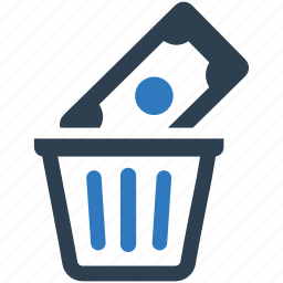 bin, capital, money, recycle, trash, waste, wealth icon