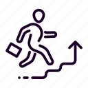 business, graph, man, stairs, success, walk icon