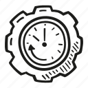 business, clock, efficiency, finance, gear, time icon