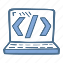 laptop, finance, coding, brackets, business icon