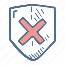 business, finance, no, security, shield icon