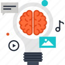 brain, bulb, content, idea, imagination, light, marketing icon