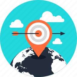 gps, location, map, marker, navigation, target, world icon